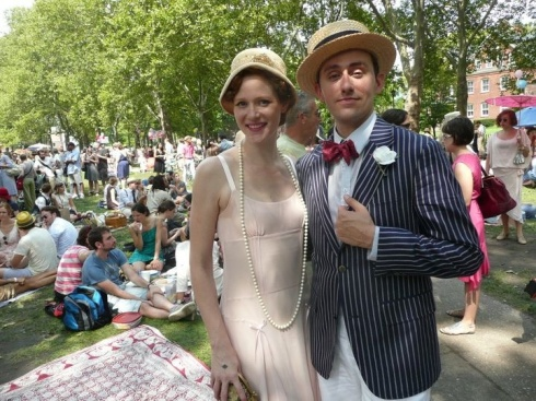 Robin Wallace and Matthew Kale Gale strike a pose during the Jazz Age Lawn Party on Governors Island, August 2011.(Photo by Dave Ernst)