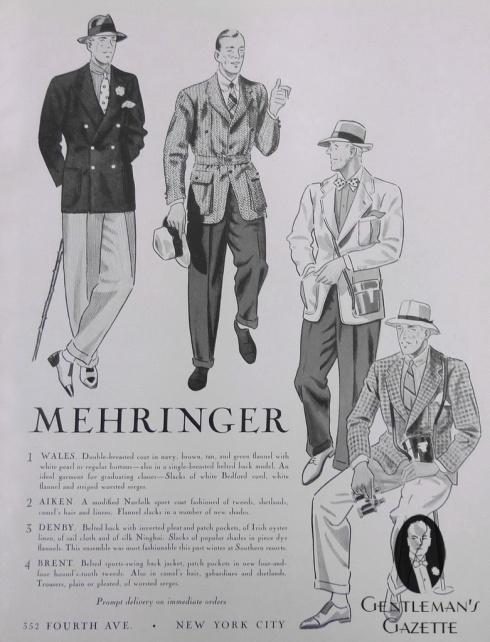 Mehringer-Sportscoats 1930s advert
